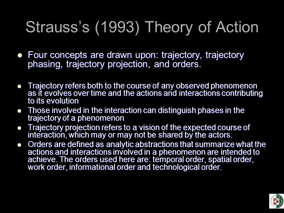 Strauss's (1993) Theory of Action Four concepts are drawn upon: trajectory, trajectory phasing, trajectory projection, and orders.