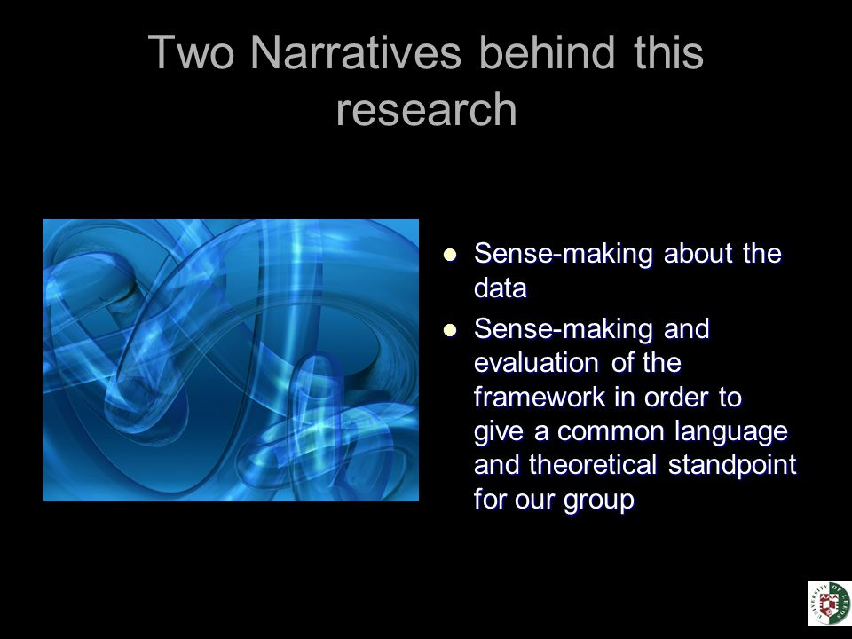 Two Narratives behind this research Sense-making about the data Sense-making about the data Sense-making and evaluation of the framework in order to give a common language and theoretical standpoint for our group Sense-making and evaluation of the framework in order to give a common language and theoretical standpoint for our group