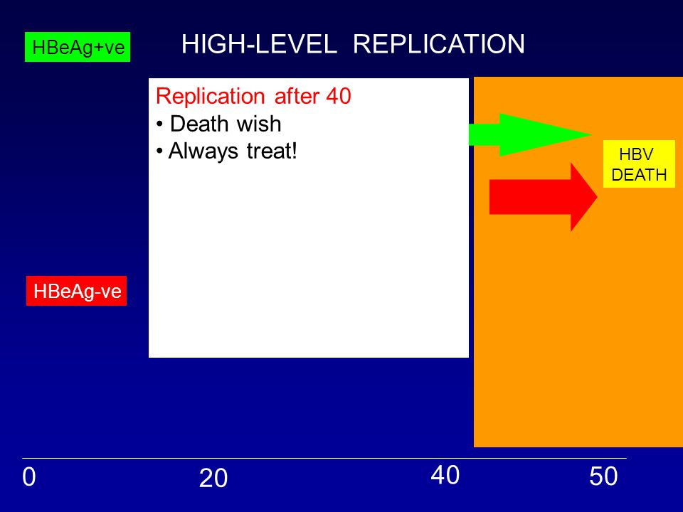 HBV DEATH 0 20 40 50 HBeAg+ve HBeAg-ve Replication after 40 Death wish Always treat.