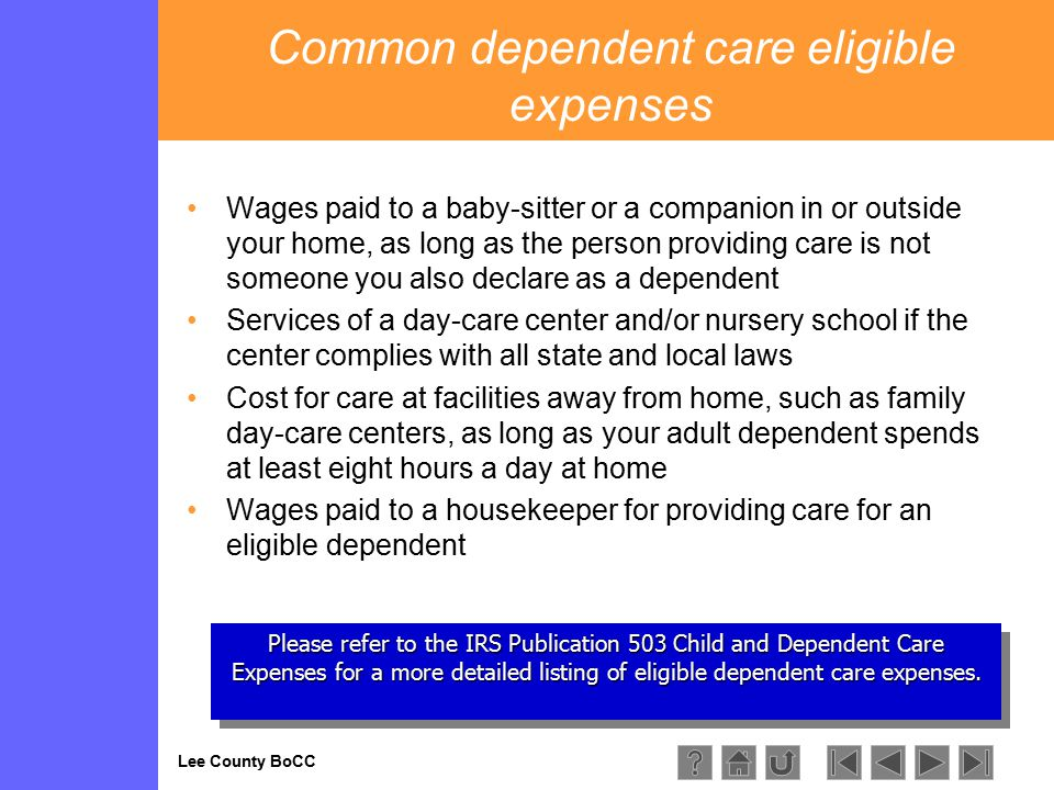Lee County BoCC Please refer to the IRS Publication 503 Child and Dependent Care Expenses for a more detailed listing of eligible dependent care expenses.
