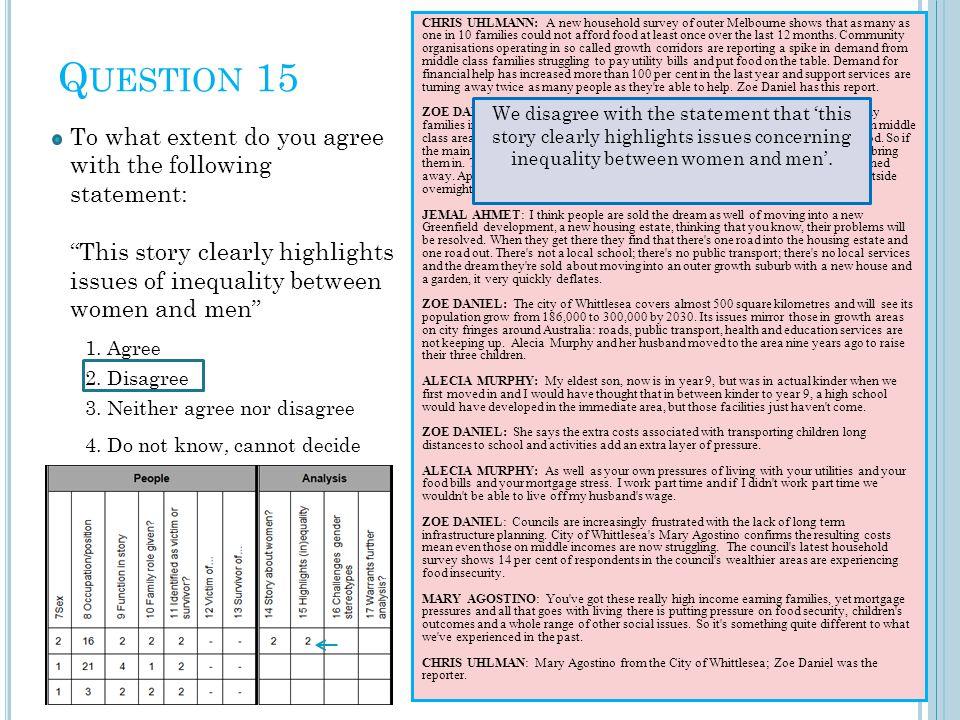 Q UESTION 15 2. Disagree 1.
