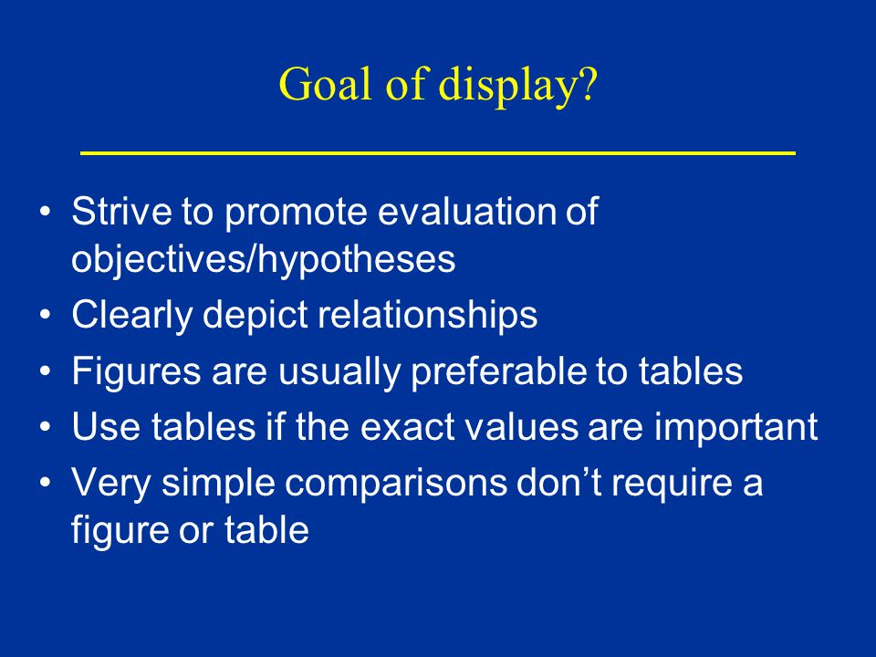 Goal of display.
