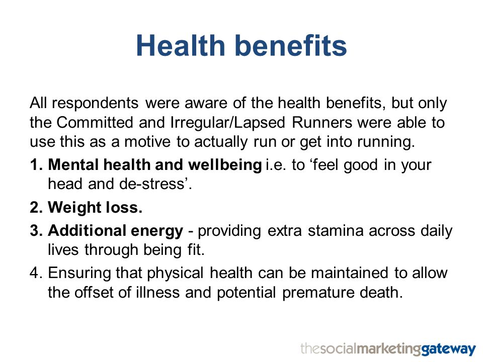 All respondents were aware of the health benefits, but only the Committed and Irregular/Lapsed Runners were able to use this as a motive to actually run or get into running.