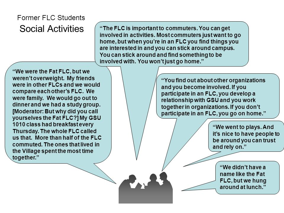 "Former FLC Students Social Activities ""We were the Fat FLC, but we weren't overweight. My friends were in other FLCs and we would compare each other's"