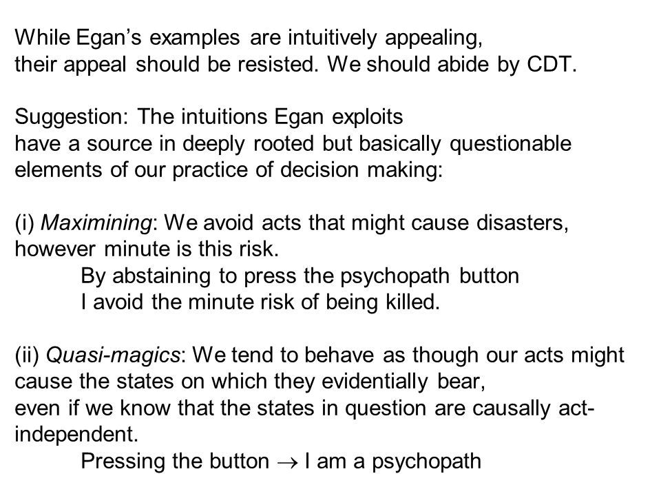 While Egan's examples are intuitively appealing, their appeal should be resisted.