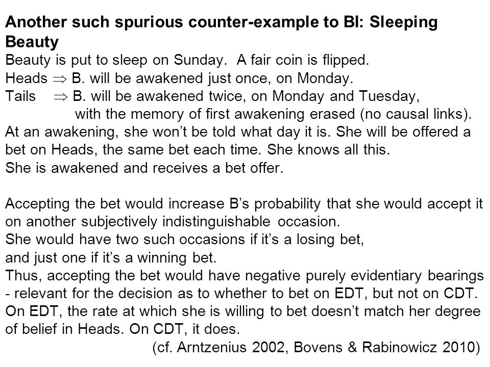 Another such spurious counter-example to BI: Sleeping Beauty Beauty is put to sleep on Sunday.