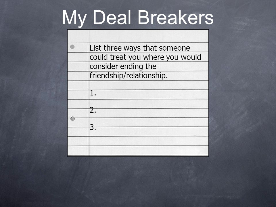 My Deal Breakers List three ways that someone could treat you where you would consider ending the friendship/relationship. 1. 2. 3.