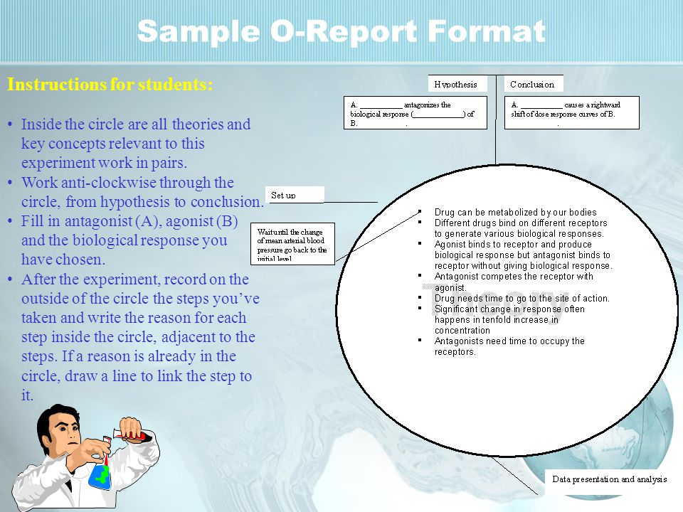 Sample O-Report Format Instructions for students: Inside the circle are all theories and key concepts relevant to this experiment work in pairs.