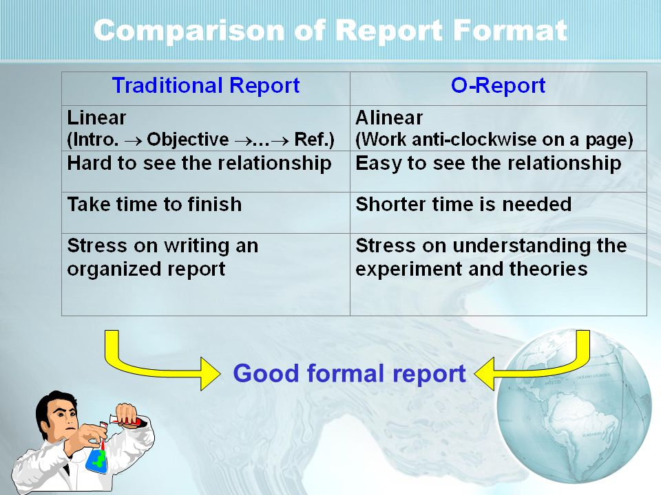 Comparison of Report Format Good formal report