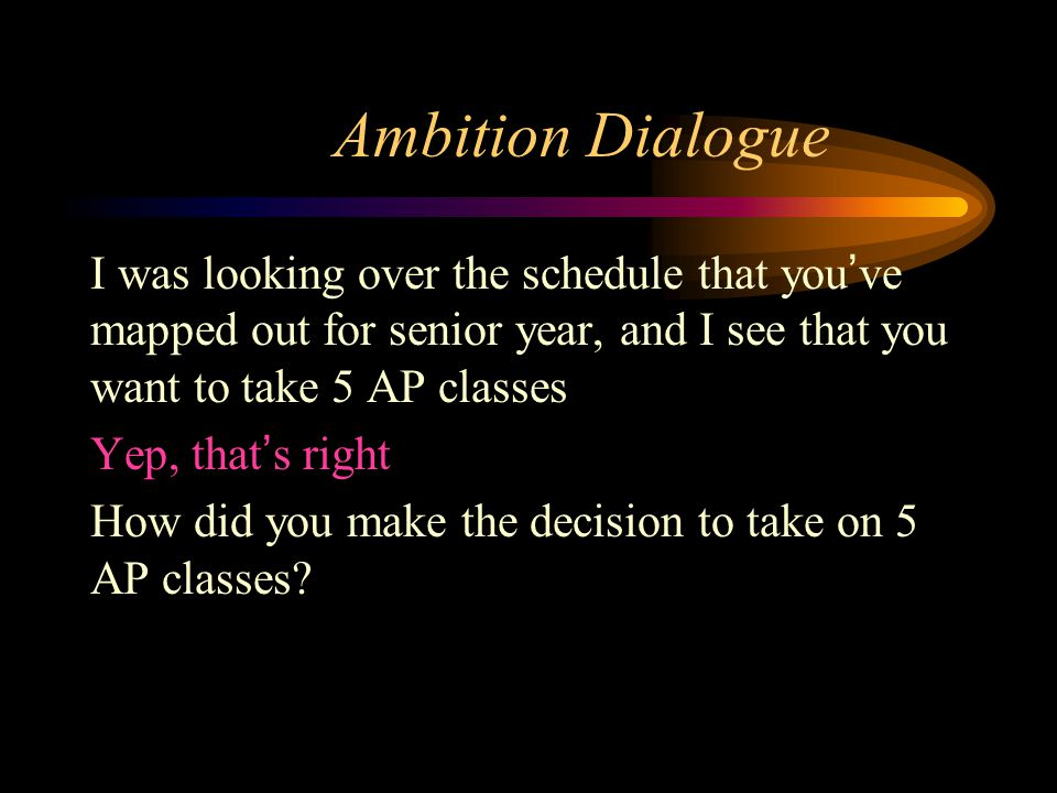 Ambition Dialogue I was looking over the schedule that you've mapped out for senior year, and I see that you want to take 5 AP classes Yep, that's rig