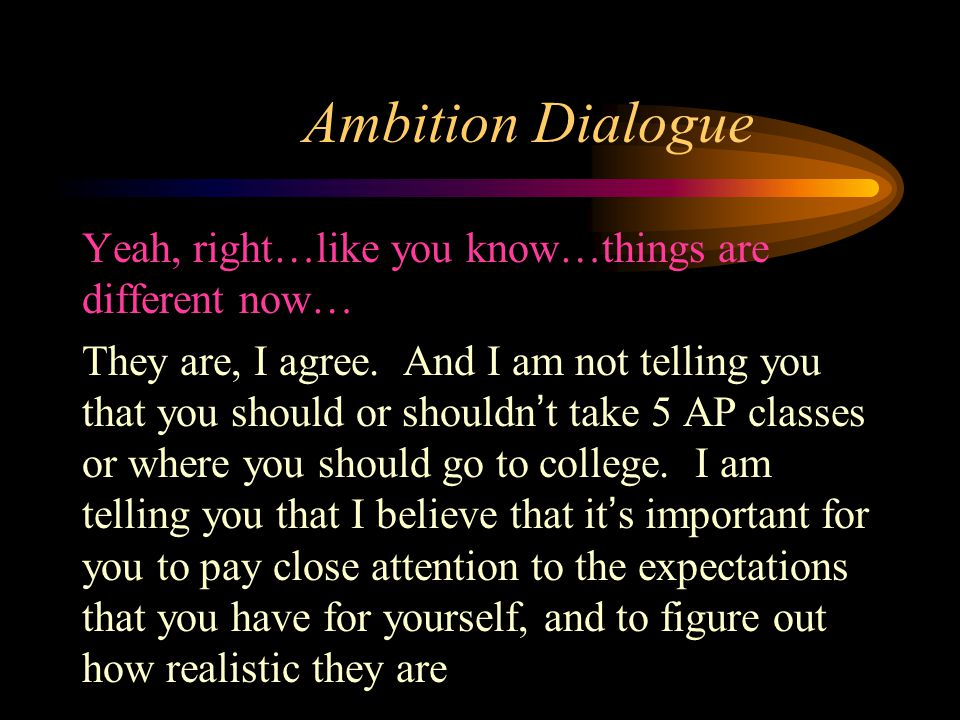 Ambition Dialogue Yeah, right…like you know…things are different now… They are, I agree.