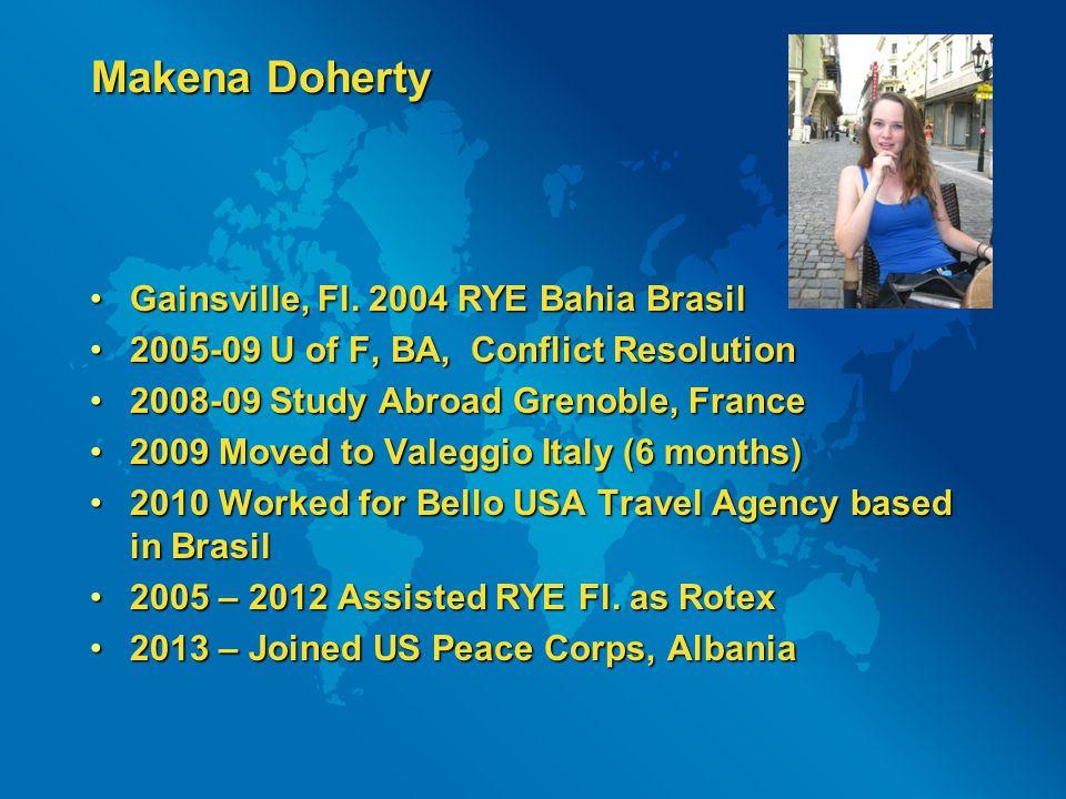 Makena Doherty Gainsville, Fl. 2004 RYE Bahia BrasilGainsville, Fl.