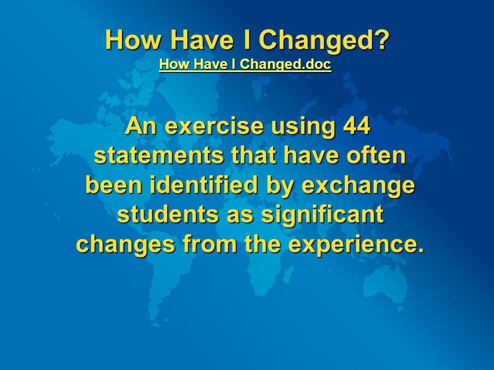 How Have I Changed. How Have I Changed.doc How Have I Changed.