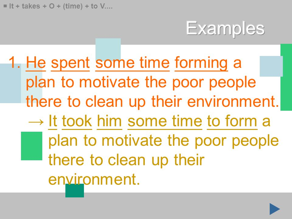 1. He spent some time forming a plan to motivate the poor people there to clean up their environment. → It took him some time to form a plan to motiva