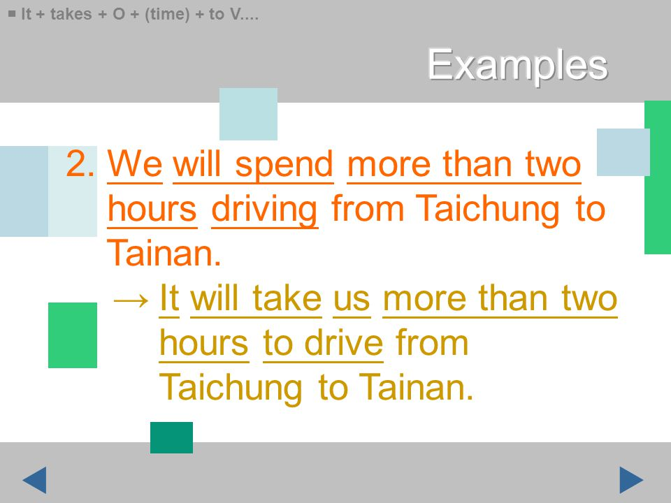 2. We will spend more than two hours driving from Taichung to Tainan.