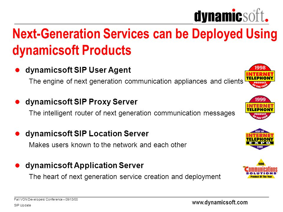 www.dynamicsoft.com Fall VON Developers' Conference – 09/13/00 SIP Update Next-Generation Services can be Deployed Using dynamicsoft Products dynamics