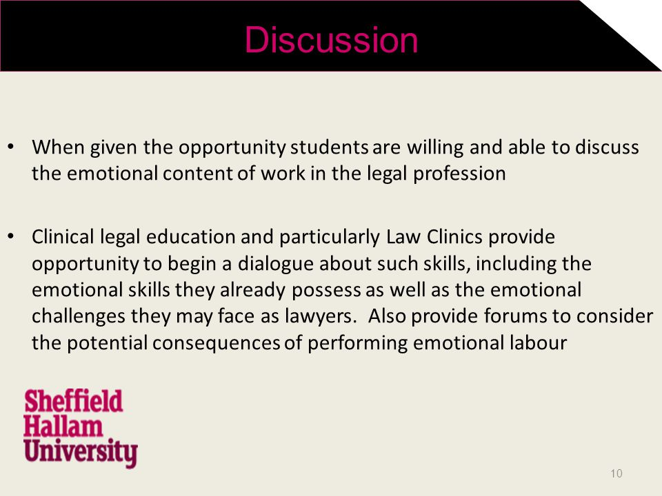 When given the opportunity students are willing and able to discuss the emotional content of work in the legal profession Clinical legal education and particularly Law Clinics provide opportunity to begin a dialogue about such skills, including the emotional skills they already possess as well as the emotional challenges they may face as lawyers.
