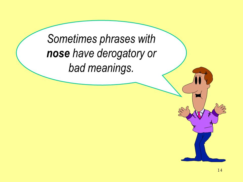 14 Sometimes phrases with nose have derogatory or bad meanings.