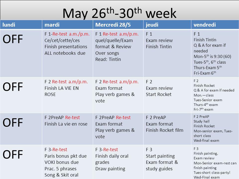 May 26 th -30 th week lundimardiMercredi 28/5jeudivendredi OFF F 1-Re-test a.m./p.m. Ce/cet/cette/ces Finish presentations ALL notebooks due F 1 Re-te
