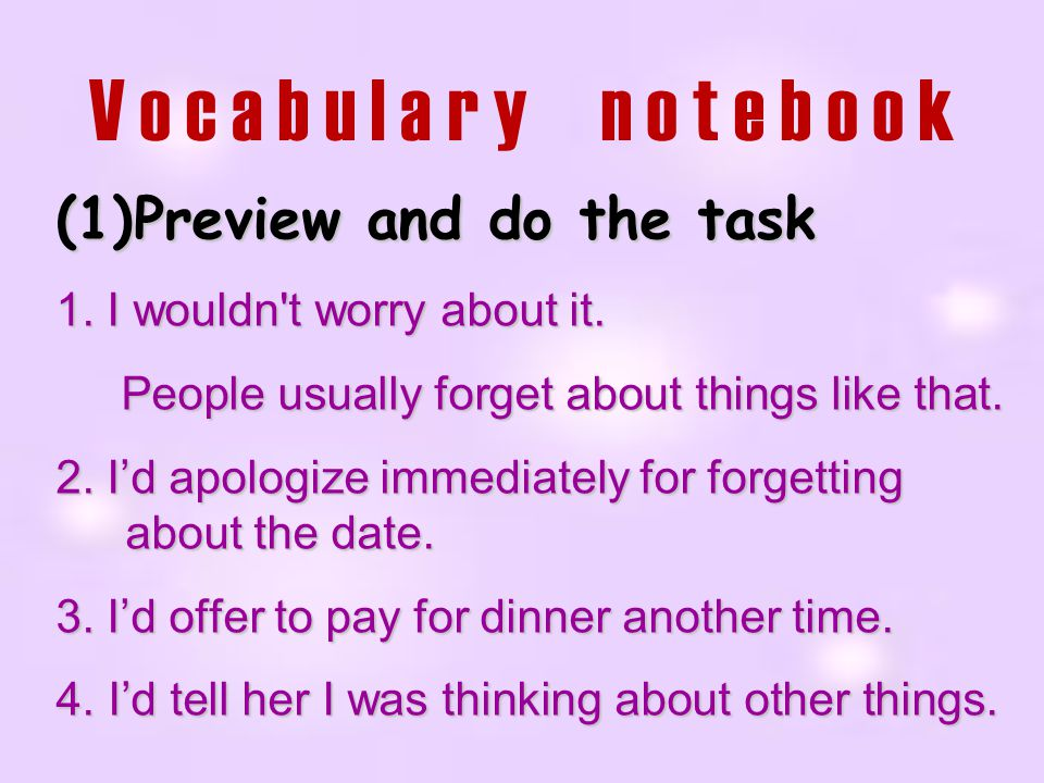 Vocabulary notebook (1)Preview and do the task 1.I wouldn t worry about it.