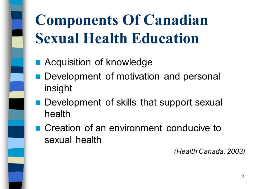 2 Components Of Canadian Sexual Health Education Acquisition of knowledge Development of motivation and personal insight Development of skills that support sexual health Creation of an environment conducive to sexual health (Health Canada, 2003)