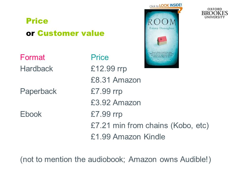 Price or Customer value FormatPrice Hardback£12.99 rrp £8.31 Amazon Paperback£7.99 rrp £3.92 Amazon Ebook£7.99 rrp £7.21 min from chains (Kobo, etc) £1.99 Amazon Kindle (not to mention the audiobook; Amazon owns Audible!)