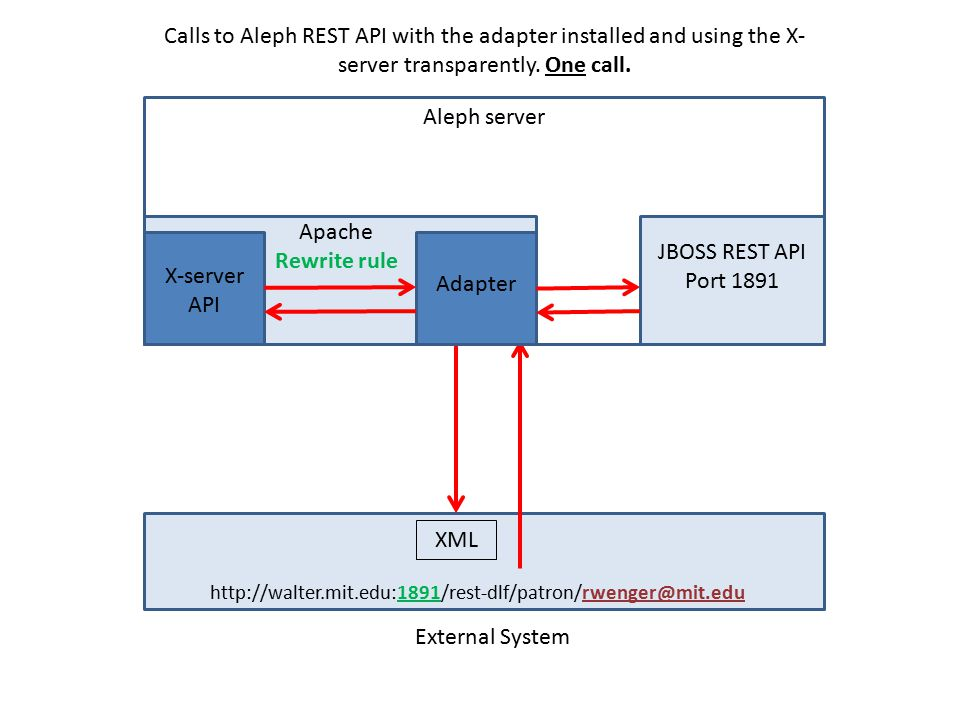 External System Calls to Aleph REST API with the adapter installed and using the X- server transparently.