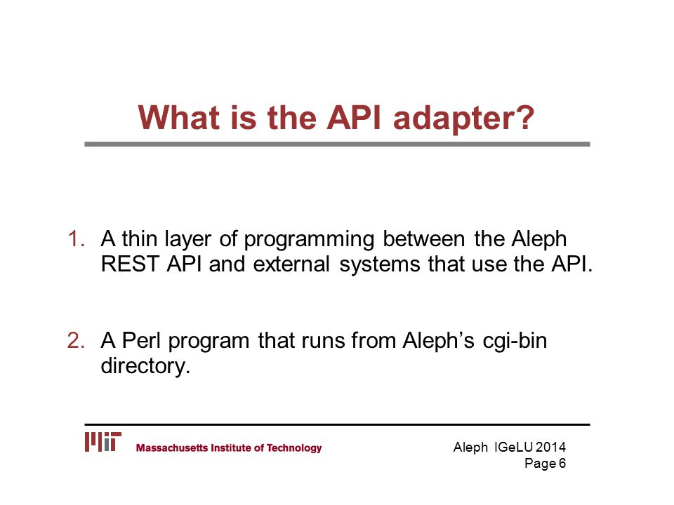 What is the API adapter.
