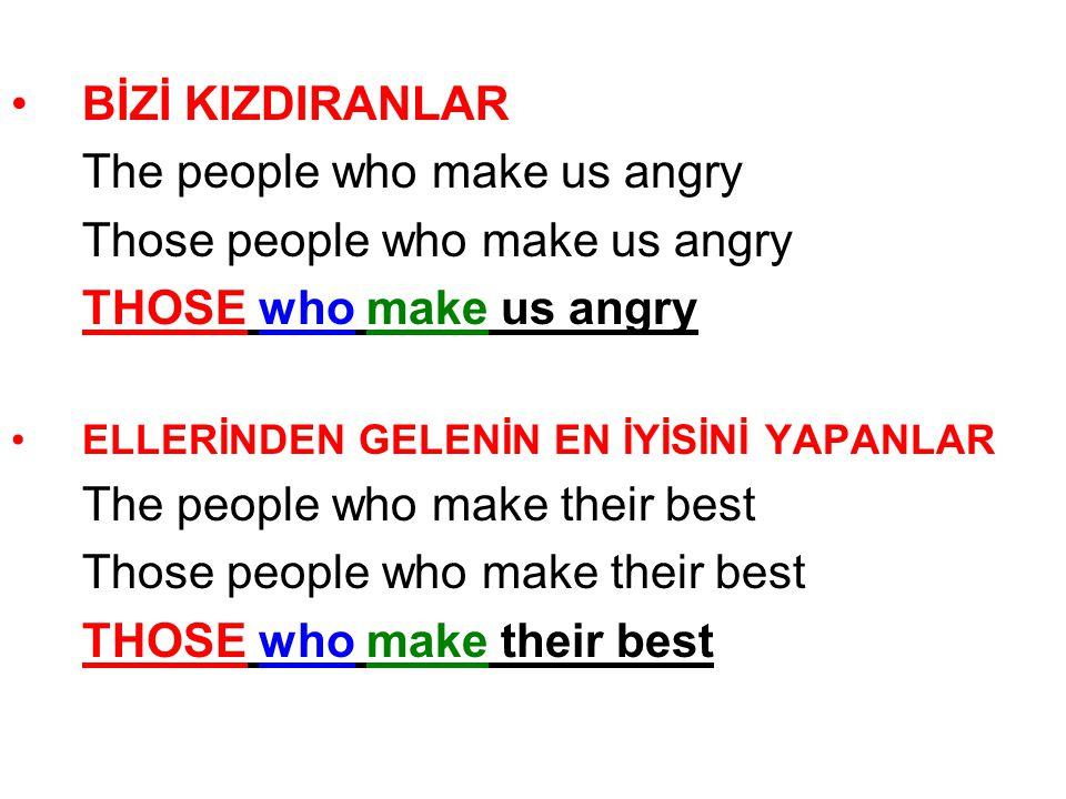 BİZİ KIZDIRANLAR The people who make us angry Those people who make us angry THOSE who make us angry ELLERİNDEN GELENİN EN İYİSİNİ YAPANLAR The people