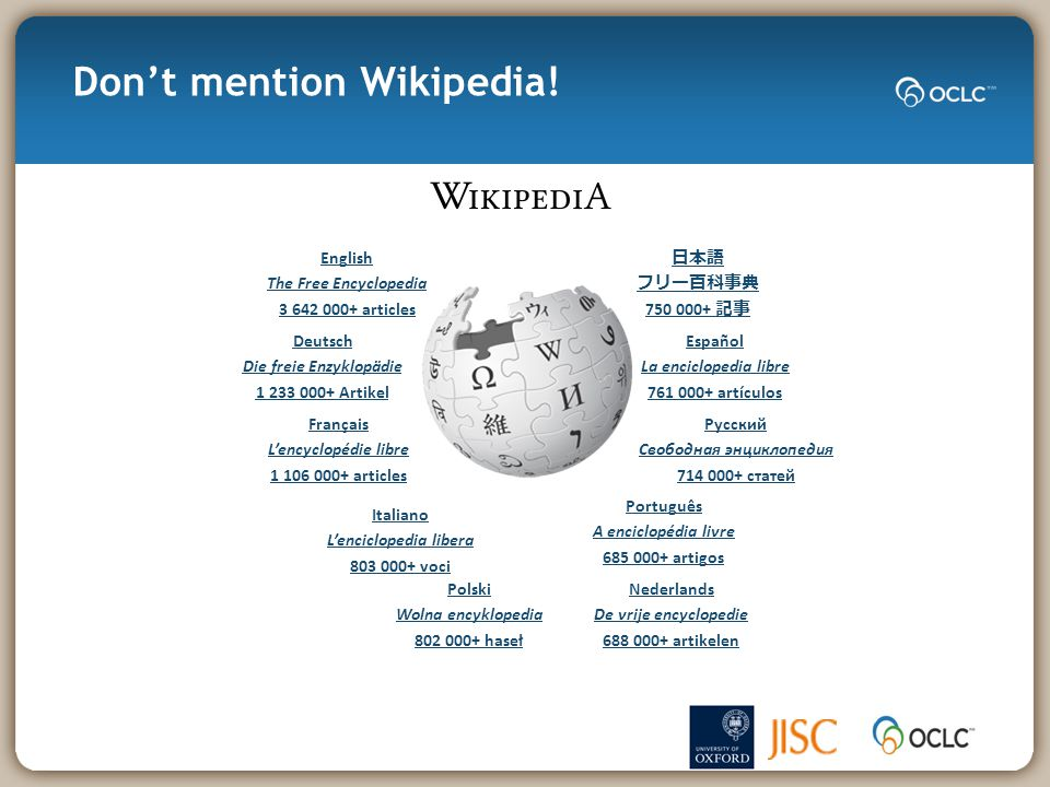 Don't mention Wikipedia.