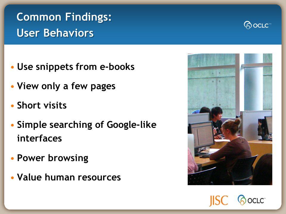 Common Findings: The Library = Collections of books Desire Selective Dissemination of Information (SDI) More digital content = Better Use for research Use less since Internet available
