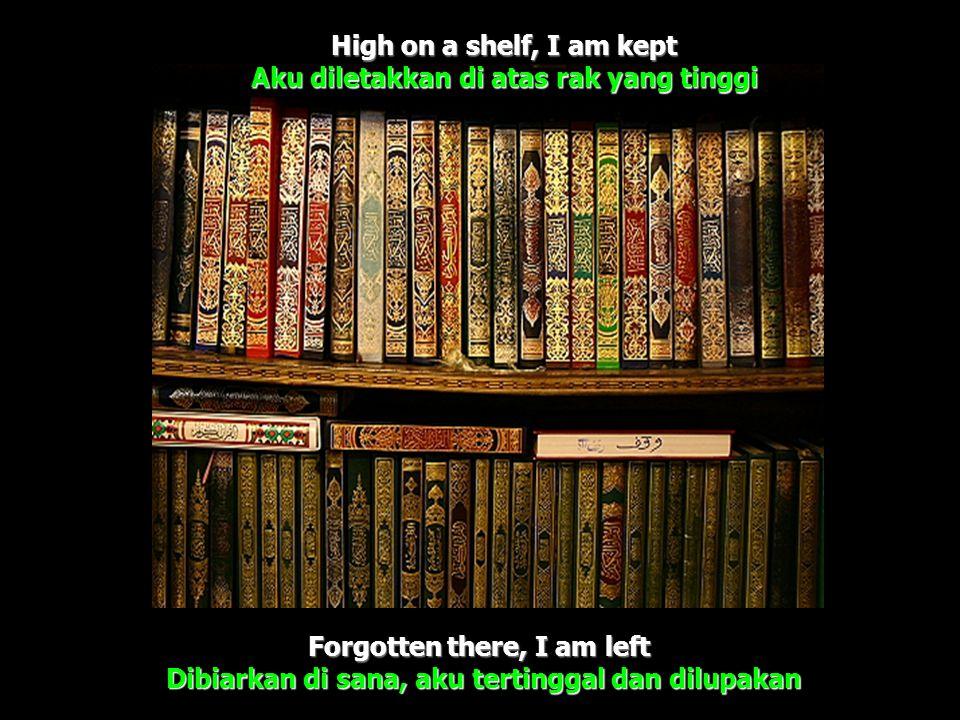 High on a shelf, I am kept Aku diletakkan di atas rak yang tinggi Forgotten there, I am left Dibiarkan di sana, aku tertinggal dan dilupakan