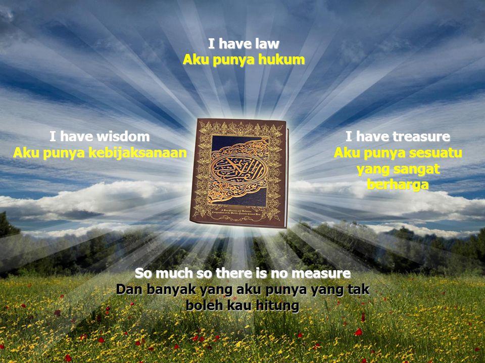 So much so there is no measure Dan banyak yang aku punya yang tak boleh kau hitung I have law Aku punya hukum I have wisdom Aku punya kebijaksanaan I