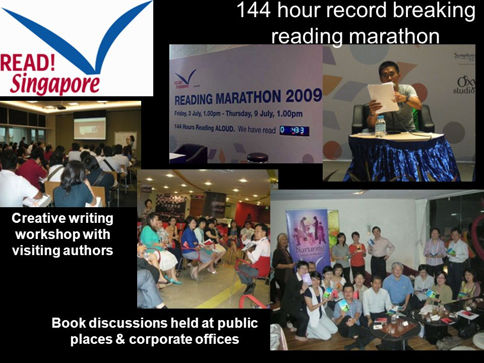 144 hour record breaking reading marathon Book discussions held at public places & corporate offices Creative writing workshop with visiting authors
