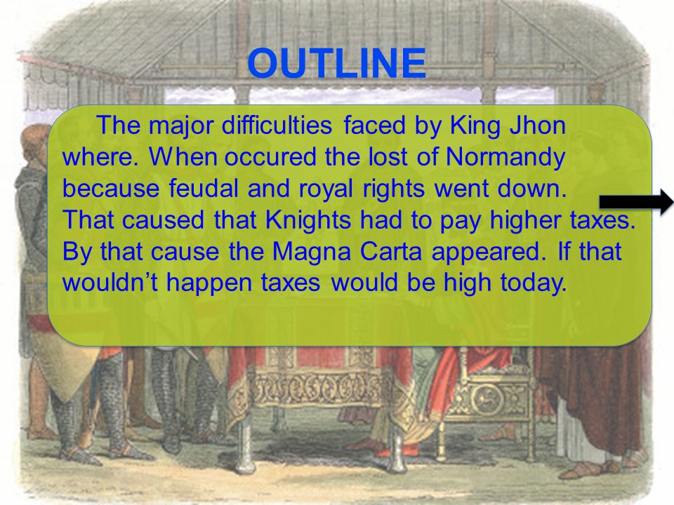 OUTLINE The major difficulties faced by King Jhon where.