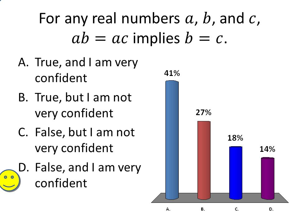 A.True, and I am very confident B.True, but I am not very confident C.False, but I am not very confident D.False, and I am very confident