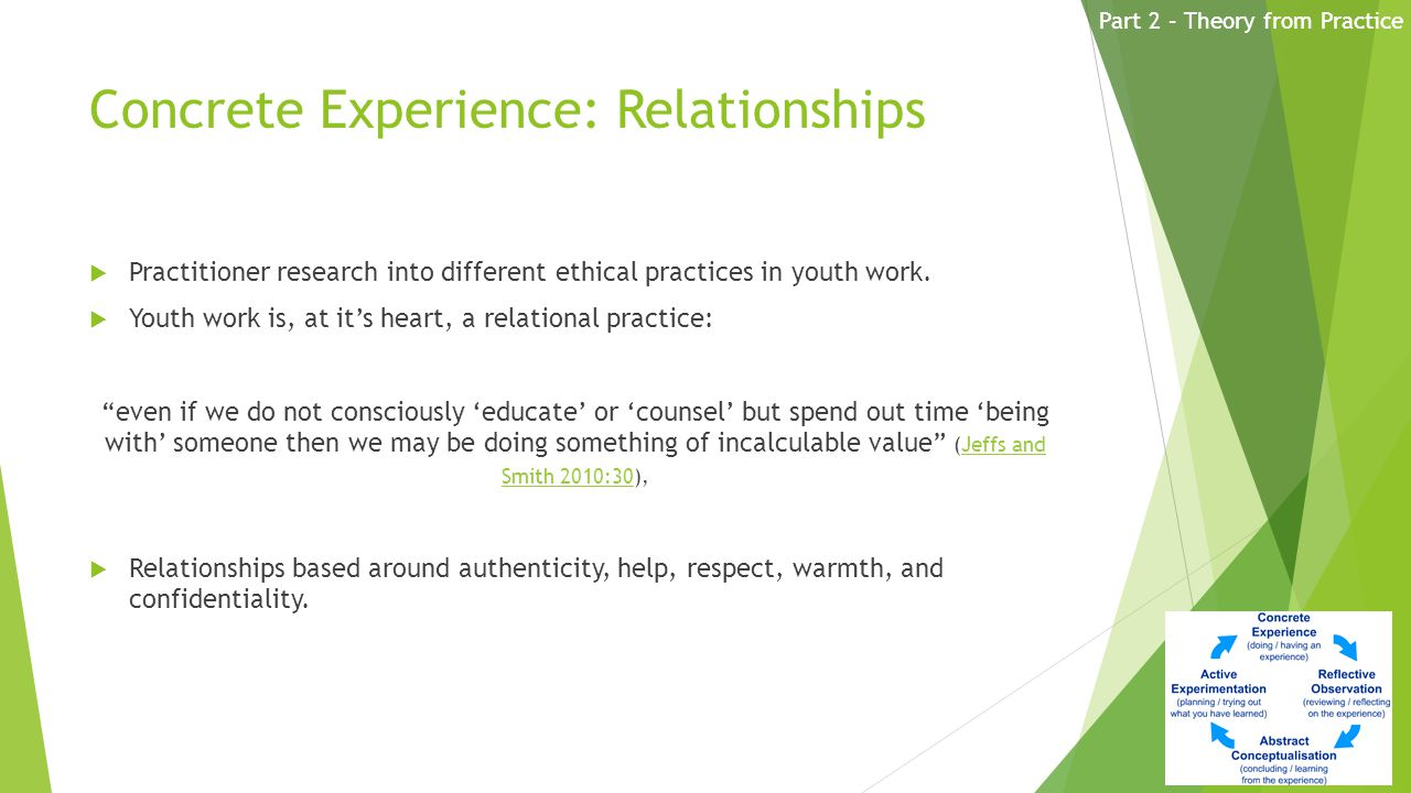 Concrete Experience: Relationships  Practitioner research into different ethical practices in youth work.