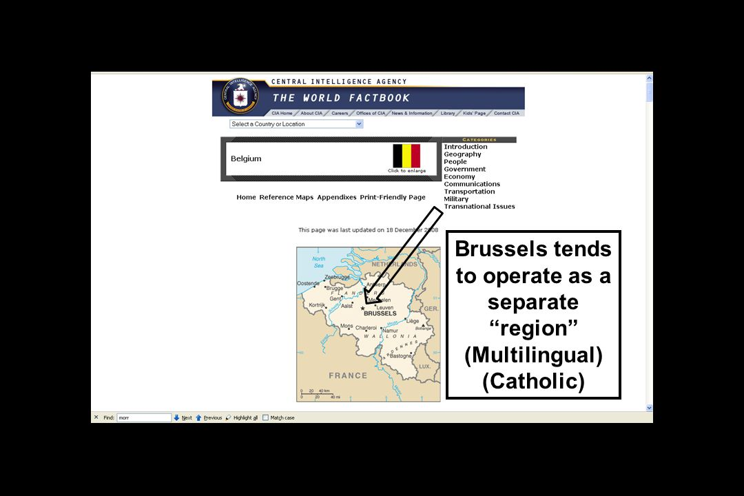 Brussels tends to operate as a separate region (Multilingual) (Catholic)