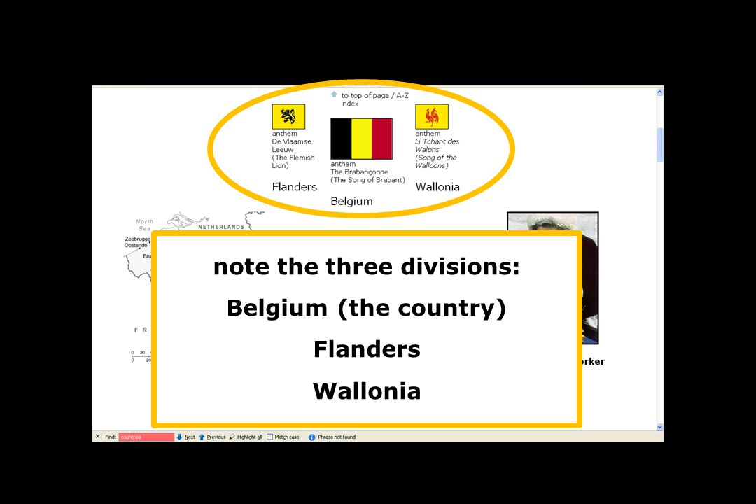 note the three divisions: Belgium (the country) Flanders Wallonia