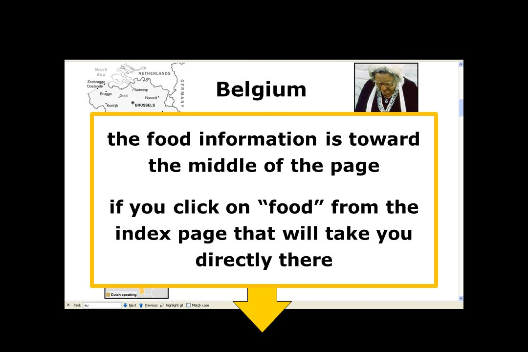 the food information is toward the middle of the page if you click on food from the index page that will take you directly there