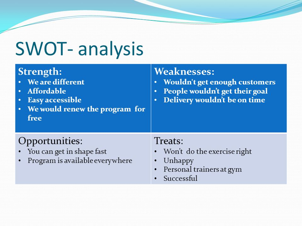 SWOT- analysis Strength: We are different Affordable Easy accessible We would renew the program for free Weaknesses: Wouldn't get enough customers Peo