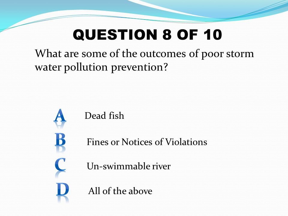 What are some of the outcomes of poor storm water pollution prevention? QUESTION 8 OF 10 Dead fish Fines or Notices of Violations Un-swimmable river A