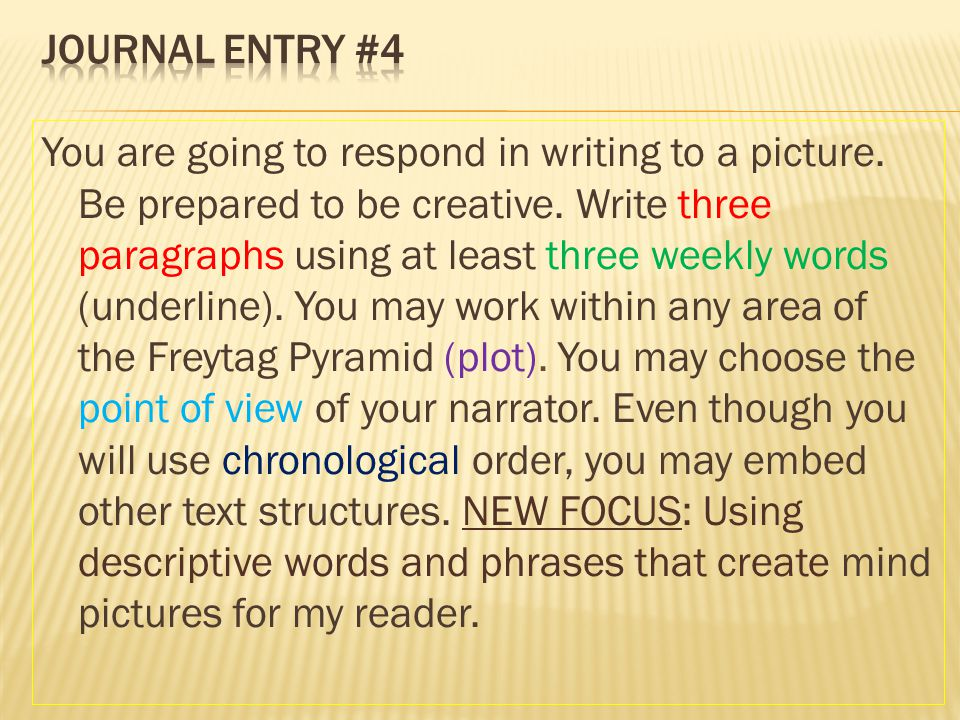 You are going to respond in writing to a picture. Be prepared to be creative. Write three paragraphs using at least three weekly words (underline). Yo