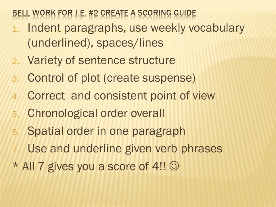 1. Indent paragraphs, use weekly vocabulary (underlined), spaces/lines 2. Variety of sentence structure 3. Control of plot (create suspense) 4. Correc