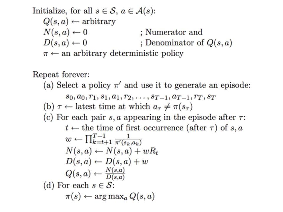 π' = policy followed, π = policy evaluating π'(s,a): probability that π' will take action a π(s,a)=1 b/c π is deterministic, and wouldn't consider s,a if π didn't select