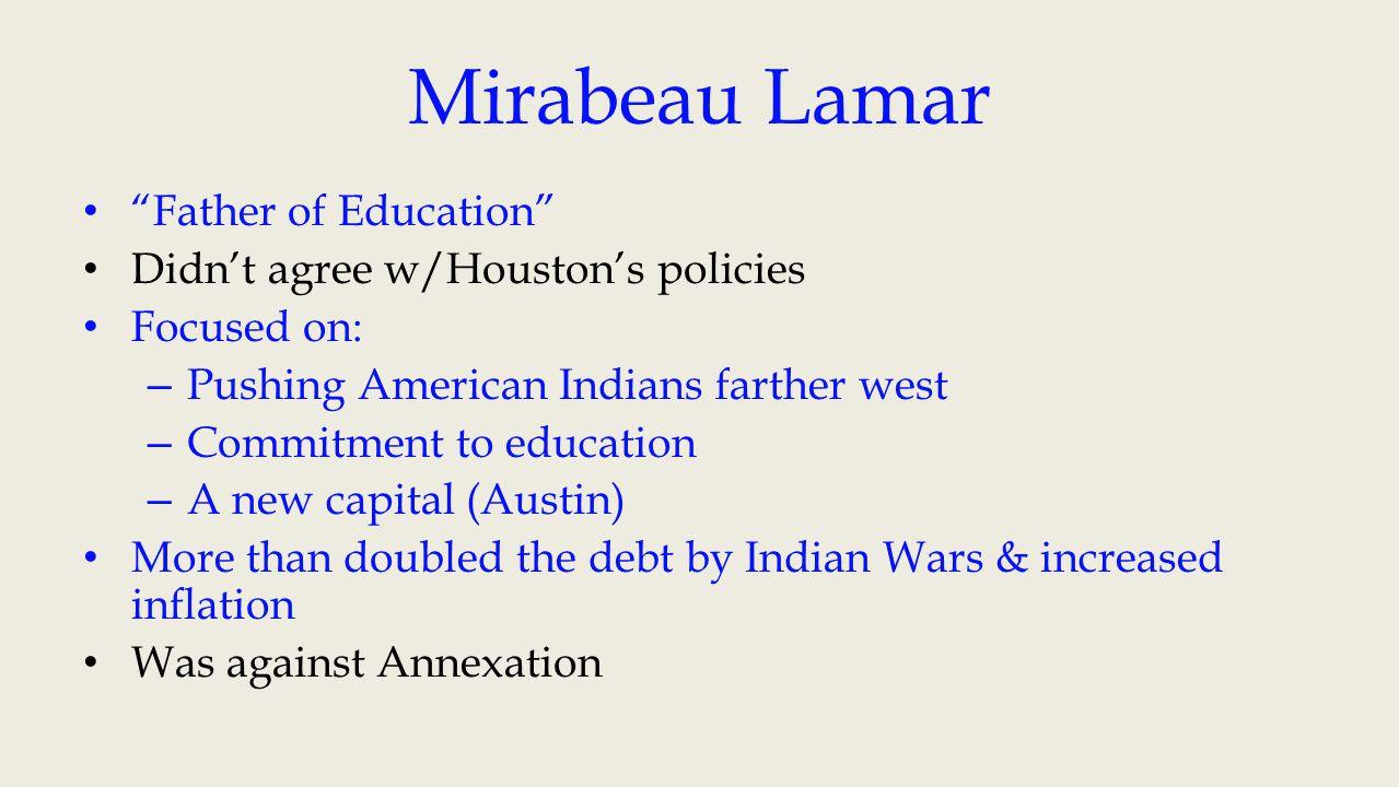 1838 – Mirabeau Lamar elected President Vice President – David G.