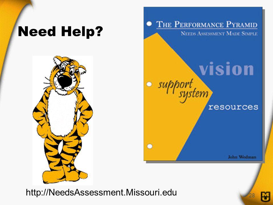28 Need Help http://NeedsAssessment.Missouri.edu