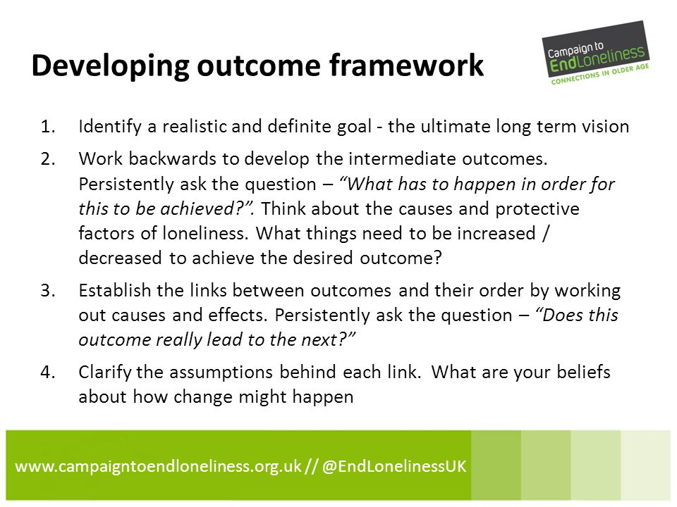 www.campaigntoendloneliness.org.uk // @EndLonelinessUK Example of an outcome framework Long Term Vision Outcome Intermediate Outcome Outcome Intermediate Outcome Supported by assumptions about:- -Different types of loneliness -Causes and Protective factors – what needs to be increased or decreased -How people might address their loneliness