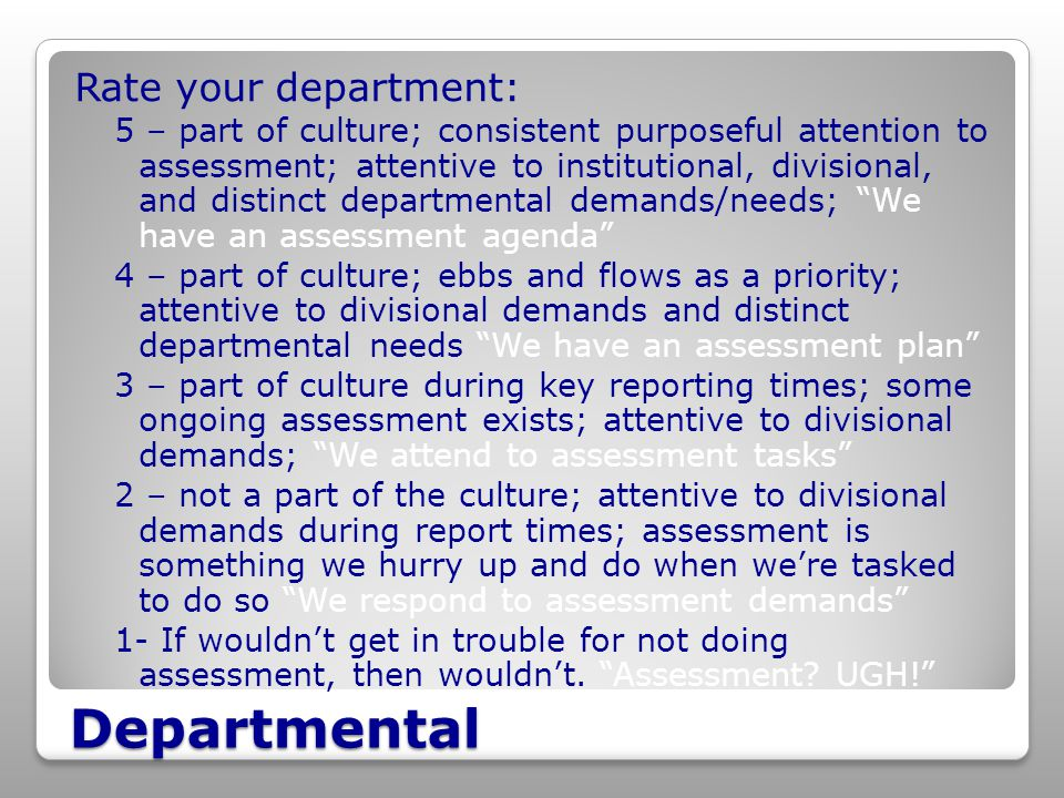 Departmental Rate your department: 5 – part of culture; consistent purposeful attention to assessment; attentive to institutional, divisional, and distinct departmental demands/needs; We have an assessment agenda 4 – part of culture; ebbs and flows as a priority; attentive to divisional demands and distinct departmental needs We have an assessment plan 3 – part of culture during key reporting times; some ongoing assessment exists; attentive to divisional demands; We attend to assessment tasks 2 – not a part of the culture; attentive to divisional demands during report times; assessment is something we hurry up and do when we're tasked to do so We respond to assessment demands 1- If wouldn't get in trouble for not doing assessment, then wouldn't.