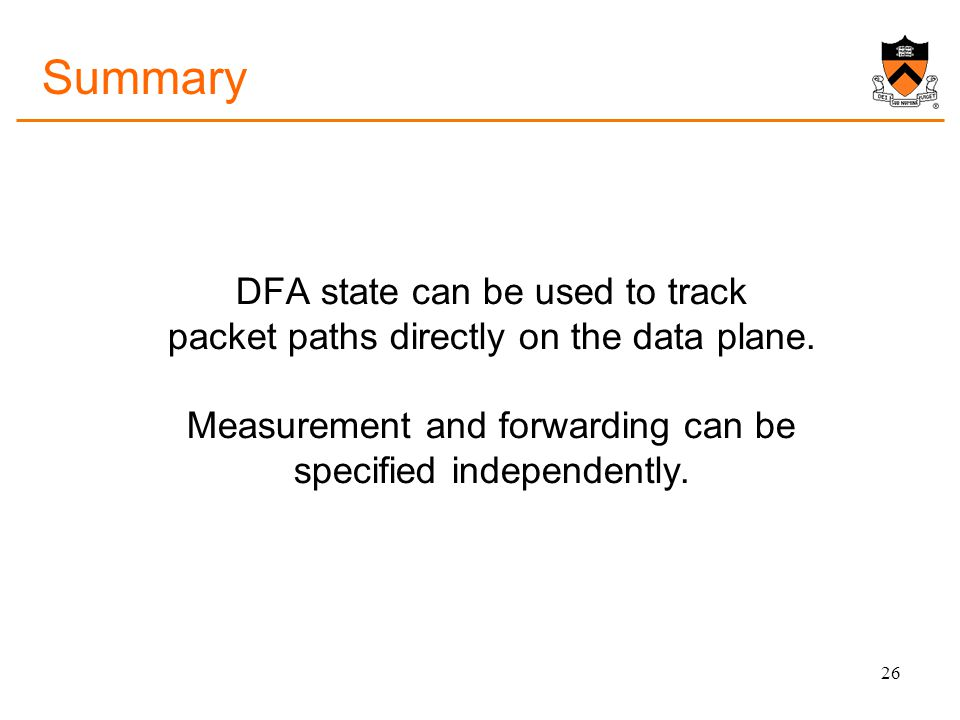 Summary DFA state can be used to track packet paths directly on the data plane.